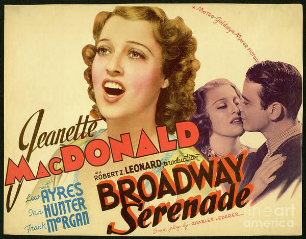 Wall Art - Drawing - Broadway Serenade Movie Poster by Delphimages Photo Creations