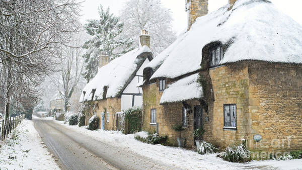 Wall Art - Photograph - Broadway Thatched Cottages In The Winter Snow by Tim Gainey