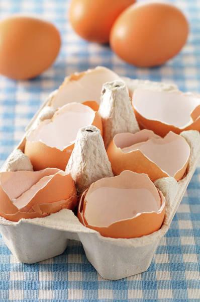 Break Up Photograph - Broken Egg Shells In Carton by Jean-christophe Riou