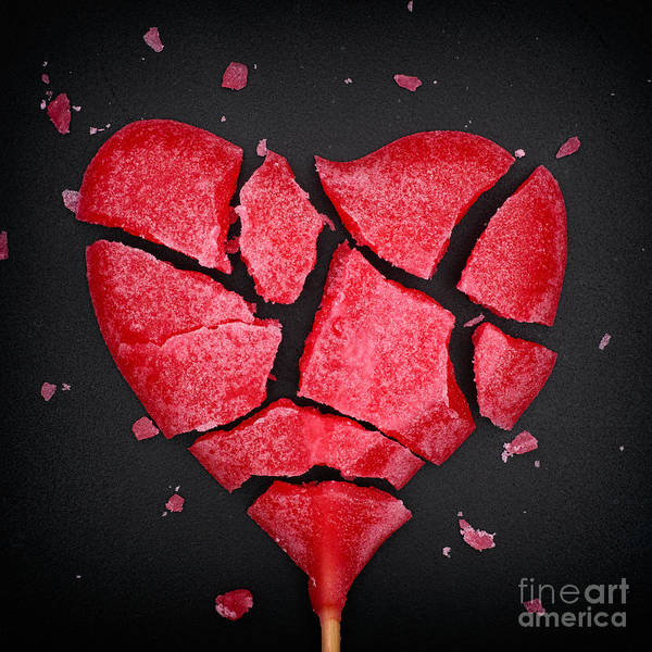 Wall Art - Photograph - Broken Red Heart Shaped Lollipop by Stepanpopov