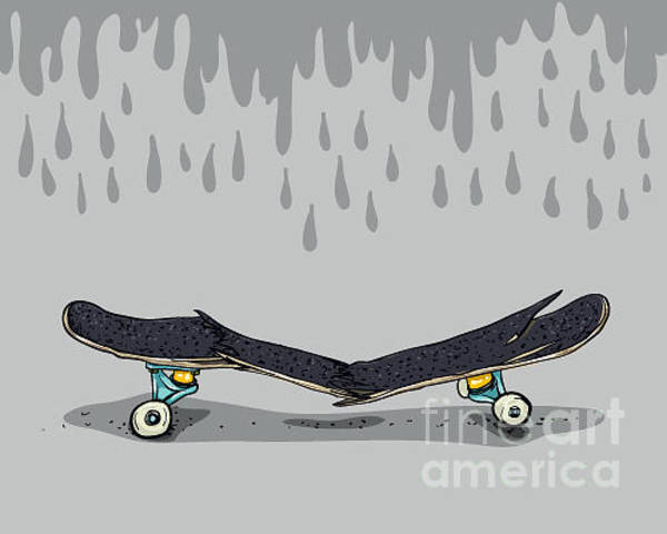 Truck Digital Art - Broken Skateboard by Cristian Amoretti
