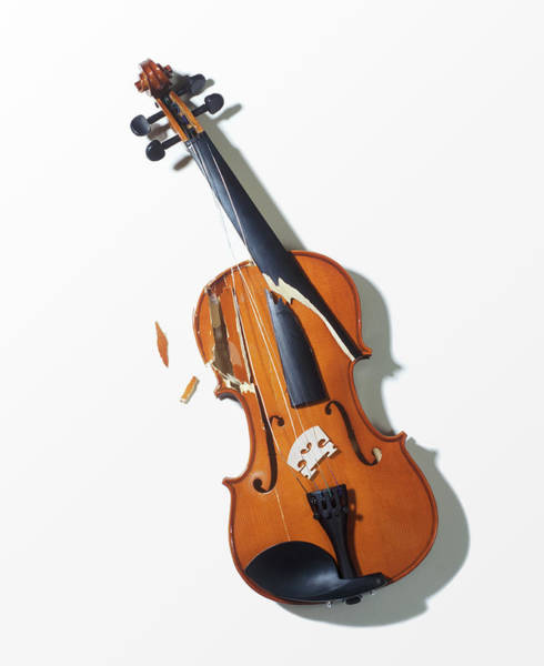 Break Up Photograph - Broken Violin, Close-up, Elevated View by Jan Stromme