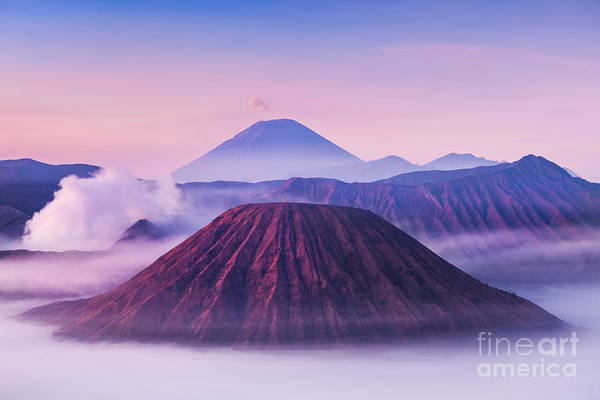 Volcanic Craters Photograph - Bromo, Batok And Semeru Volcanoes At by Saiko3p