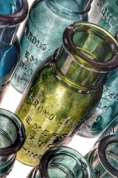Photograph - Bromo Seltzer Vintage Glass Bottles Collection - Rare Green And Blue #4 by Marianna Mills