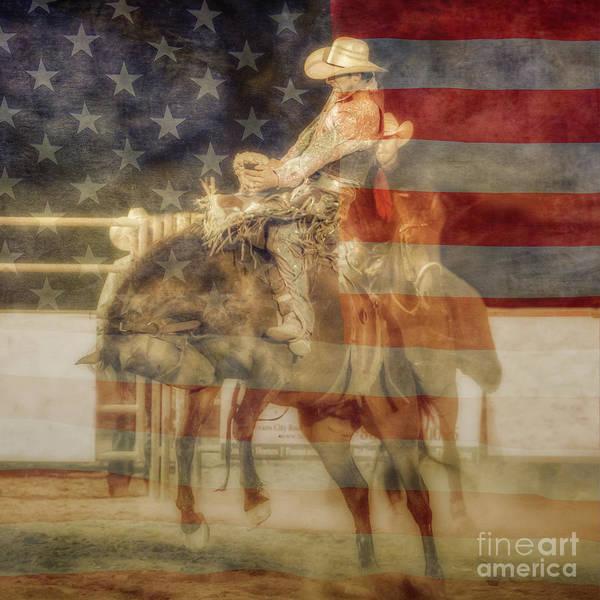 Bucking Bronco Digital Art - Bronco Rider American Flag by Randy Steele