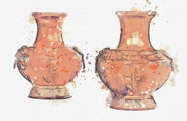 Painting - bronze baluster vases Japan, Meiji period watercolor by Ahmet Asar by Ahmet Asar