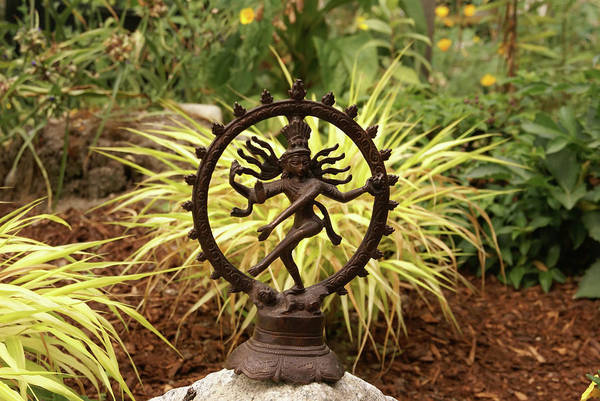 Photograph - Bronze Shiva In Garden by Steve Estvanik