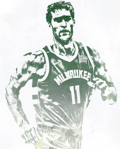 Wall Art - Mixed Media - Brook Lopez Milwaukee Bucks Water Color Pixel Art 1 by Joe Hamilton