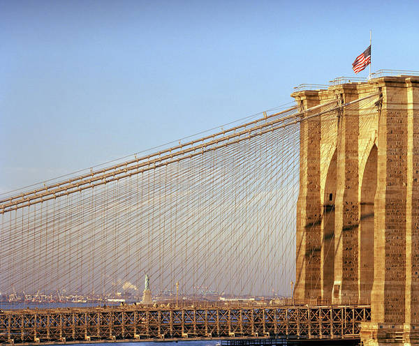 Statue Photograph - Brooklyn Bridge And Statue Of Liberty by Angus Oborn