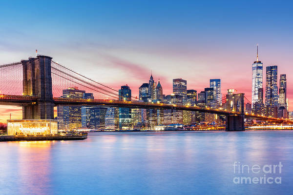 Wall Art - Photograph - Brooklyn Bridge And The Lower Manhattan by Mandritoiu