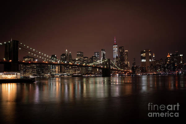 Photograph - Brooklyn Bridge At Night 1 by Sanjeev Singhal