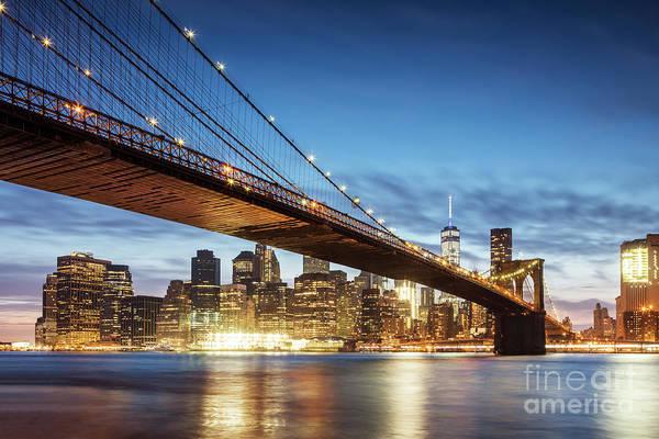 Wall Art - Photograph - Brooklyn Bridge At Night, New York, Usa by Matteo Colombo