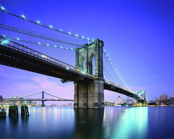 Williamsburg Photograph - Brooklyn Bridge At Twilight, New York by Andrew C Mace