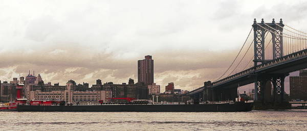 Wall Art - Photograph - Brooklyn Bridge Boat Barge Pano by Chuck Kuhn
