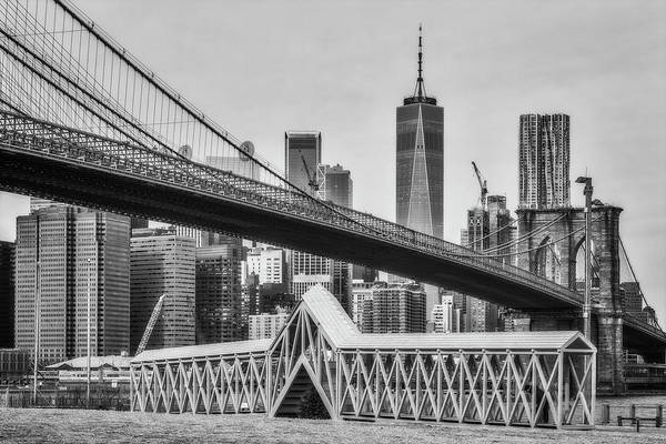Photograph - Brooklyn Bridge Dumbo Nyc Bw by Susan Candelario