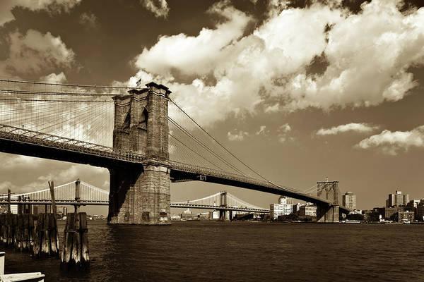 Brooklyn Bridge In Sepia Art Print by Gcoles