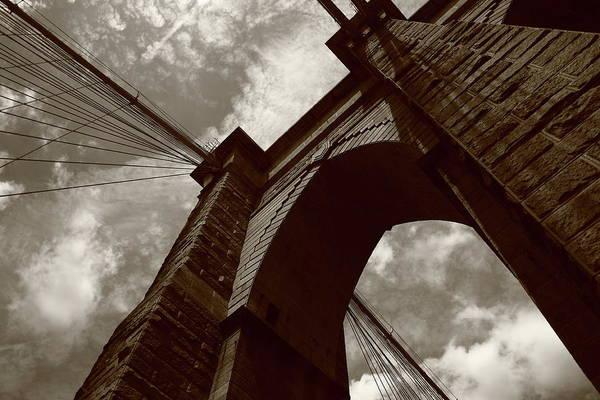 Photograph - Brooklyn Bridge - New York City 5 Sepia by Frank Romeo