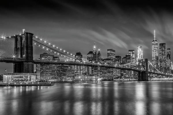 Wall Art - Photograph - Brooklyn Bridge Nightly Impressions - Monochrome by Melanie Viola
