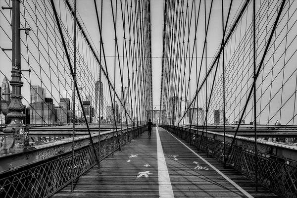 Photograph - Brooklyn Bridge Nyc Skyline Bw by Susan Candelario