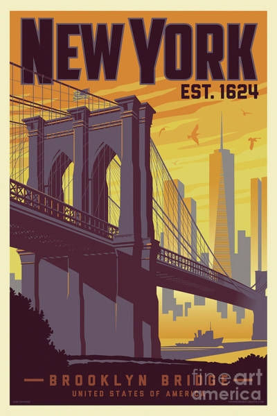 Wall Art - Digital Art - Brooklyn Bridge Poster - New York Vintage by Jim Zahniser