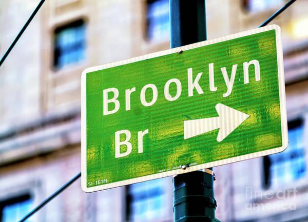 Photograph - Brooklyn Bridge This Way In New York City by John Rizzuto