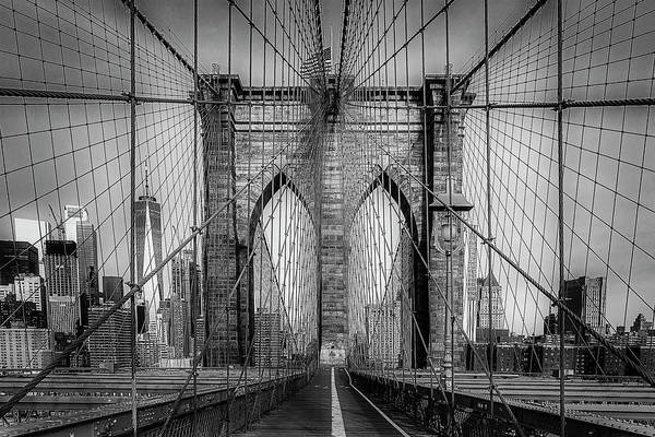 Wall Art - Photograph - Brooklyn Bridge View To Wtc Nyc Bw by Susan Candelario