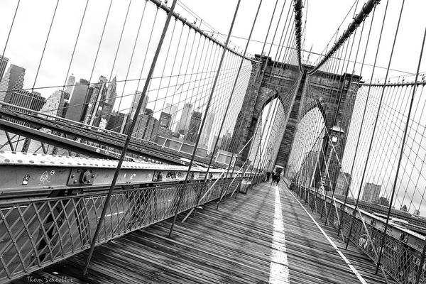 Photograph - Brooklyn Bridge Walkway by T-S Fine Art Landscape Photography