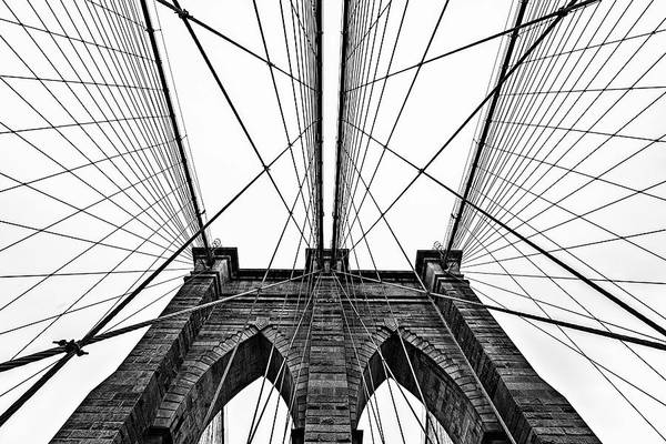 Photograph - Brooklyn Bridge Website In Black And White by Kay Brewer