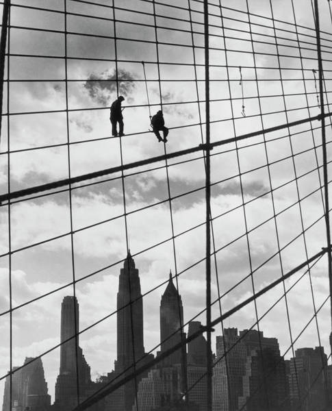 Brooklyn Bridge Workers Art Print by Archive Photos