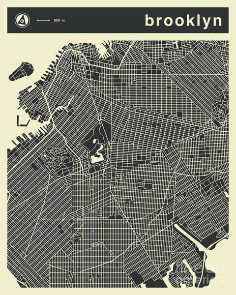 York Digital Art - Brooklyn Map 3 by Jazzberry Blue