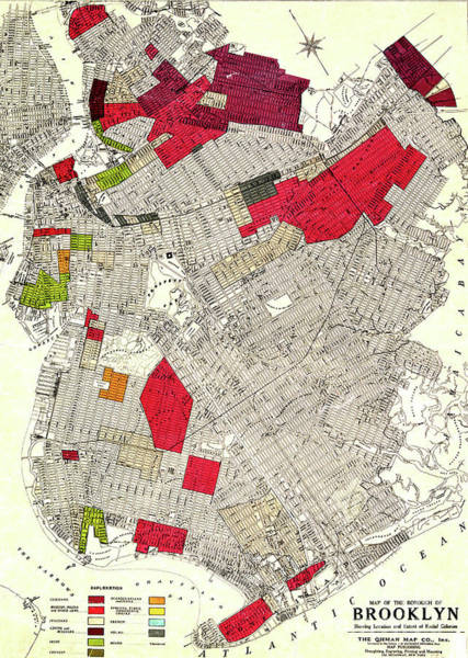 Wall Art - Mixed Media - Brooklyn New York Racial Colonies Map 1920 by Zal Latzkovich