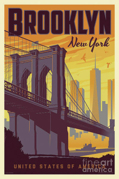 Wall Art - Digital Art - Brooklyn Poster - Vintage Brooklyn Bridge by Jim Zahniser