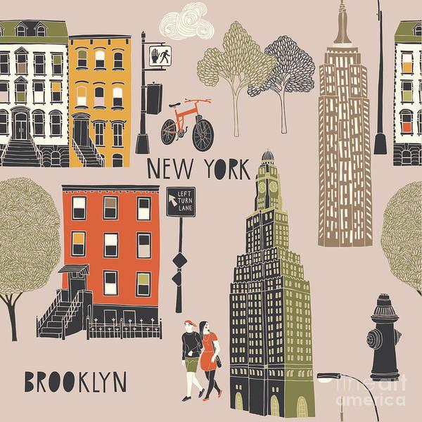 Wall Art - Digital Art - Brooklyn Seamless Pattern by Lavandaart
