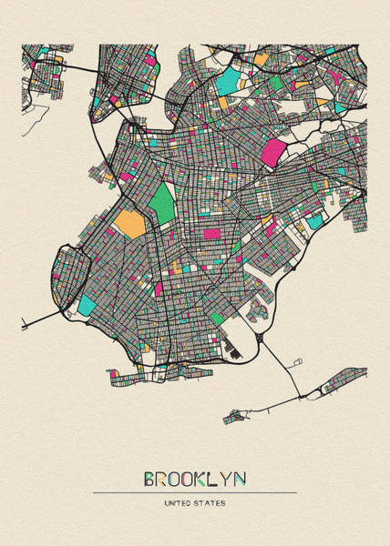 Wall Art - Drawing - Brooklyn, United States City Map by Inspirowl Design