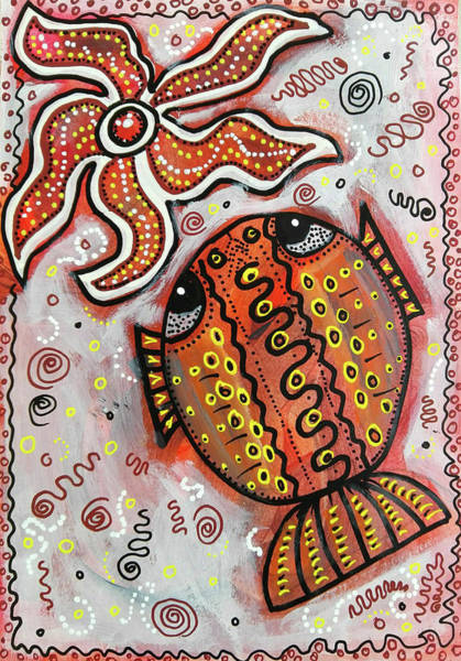 Mixed Media - Brother Fish And Sister Starfish In Deep Conversation by Mimulux patricia No
