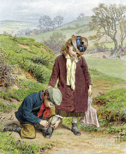 Brother And Sister Wall Art - Painting - Brother Tying His Sisters Shoe by Robert Barnes