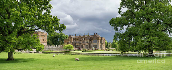 Photograph - Broughton Castle In Spring Panoramic by Tim Gainey