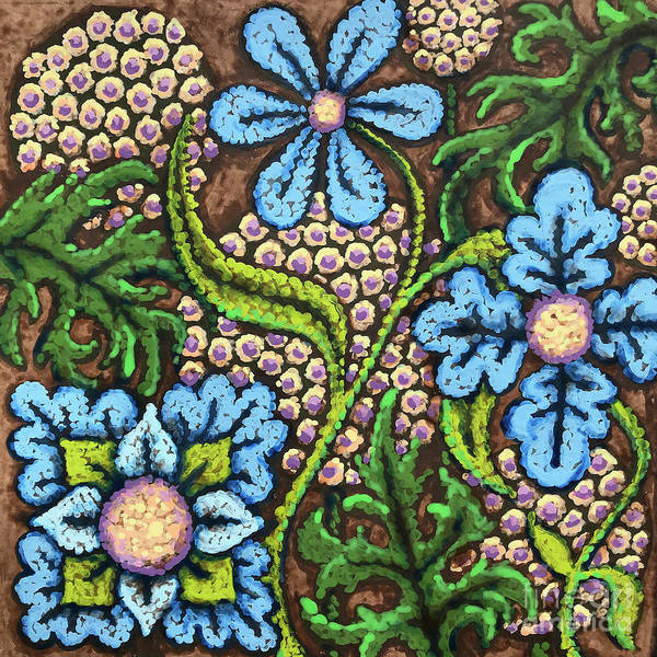 Painting - Brown And Blue Floral 2 by Amy E Fraser