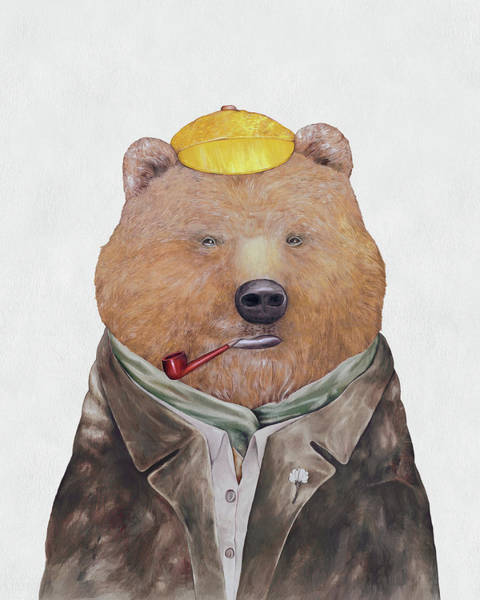 Animals In Clothes Wall Art - Painting - Brown Bear by Animal Crew