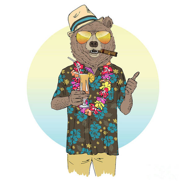 Hawaiian Wall Art - Digital Art - Brown Bear Dressed Up In Aloha Shirt by Olga angelloz