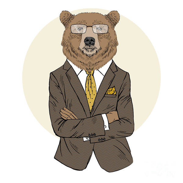 Office Manager Wall Art - Digital Art - Brown Bear Dressed Up In Office Suit by Olga angelloz