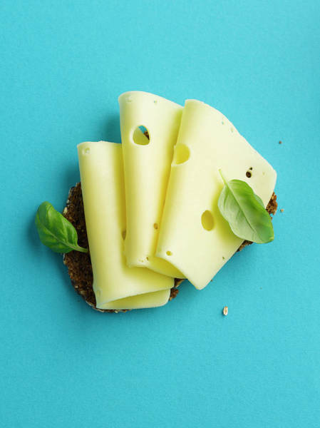 Wall Art - Photograph - Brown Bread With Cheese And Basil Leaf by Westend61