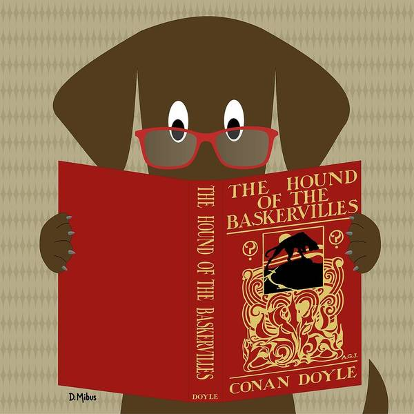 Digital Art - Brown Dog Reading by Donna Mibus