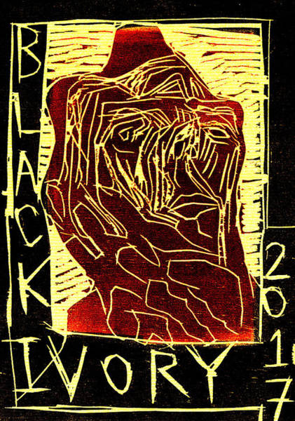 Digital Art - Brown Face Black Ivory Woodcut Poster 35 by Artist Dot
