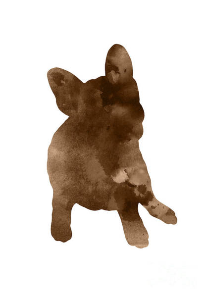 Wall Art - Painting - Brown Silhouette Of A Frenchie Sitting On The Right Hip by Joanna Szmerdt