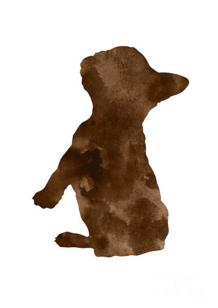 French Bulldog Painting - Brown Silhouette Of A Frenchie Sitting Pretty by Joanna Szmerdt