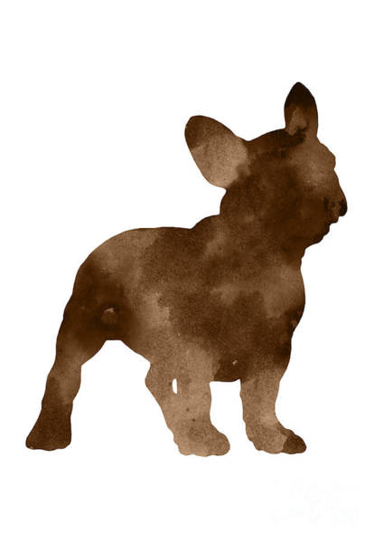 Wall Art - Painting - Brown Silhouette Of A Frenchie Standing Facing Right by Joanna Szmerdt