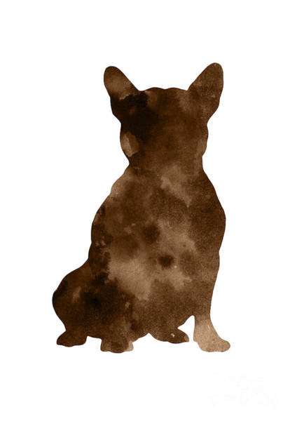Wall Art - Painting - Brown Silhouette Of A Sitting Frenchie by Joanna Szmerdt