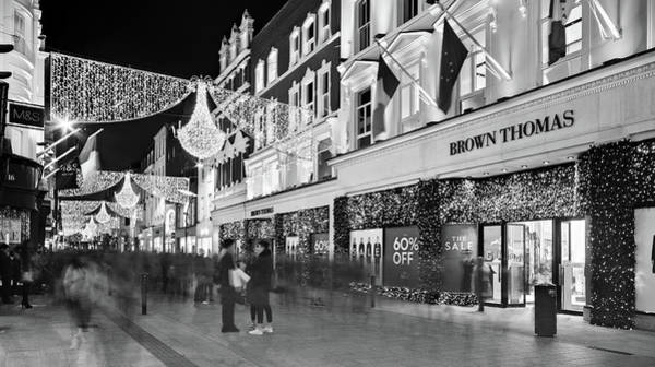 Photograph - Brown Thomas On Grafton Street At Night - Dublin by Barry O Carroll