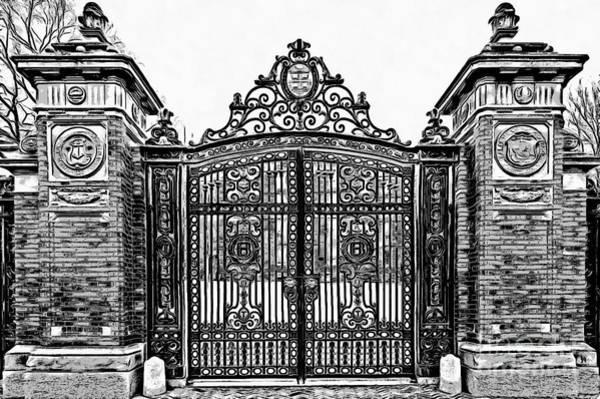 Wall Art - Digital Art - Brown University Gate Graphic Novel Version by Edward Fielding